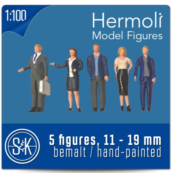 5 Personnages européens 3D 1:100  - Miniature pour décors d'architecture