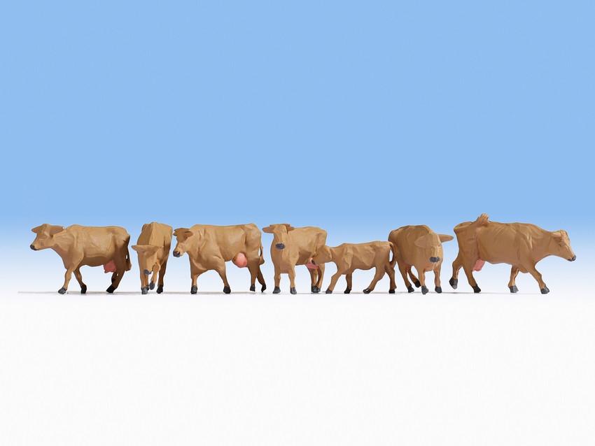 Figurines miniatures : Vaches brunes 1:87 - Noch 15727