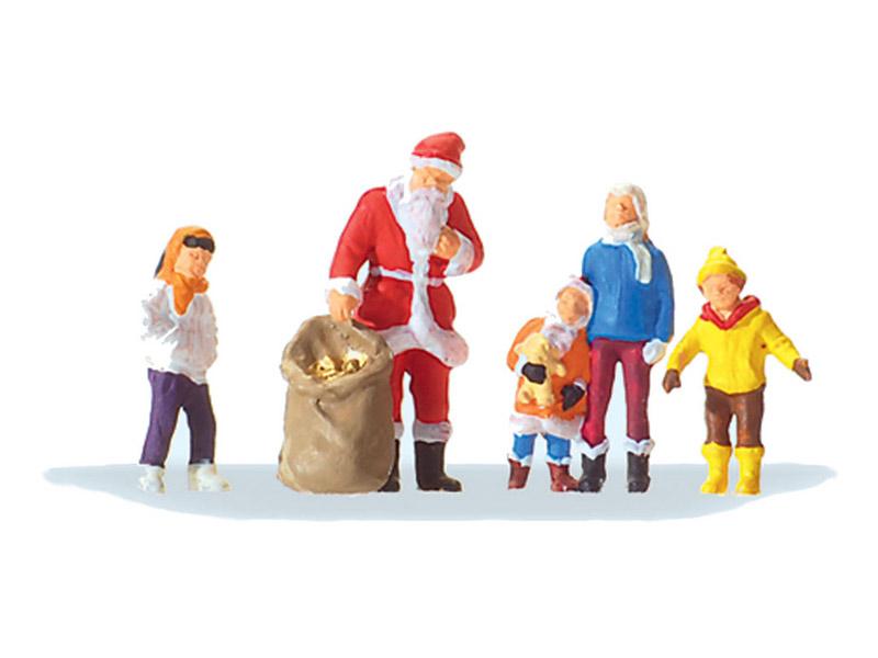 Père noël miniature avec des enfants 1:87, HO - Preiser 29098