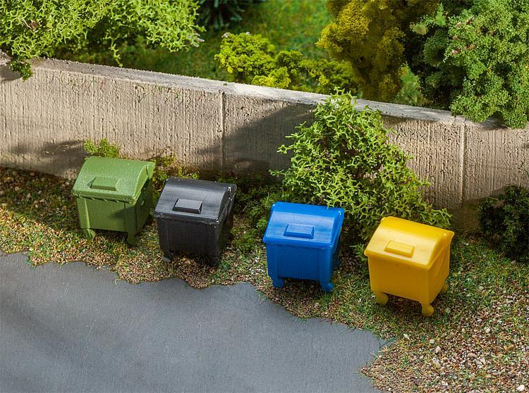 Lot de 8 conteneurs à déchetsé - 1:87 H0 - Faller 180343