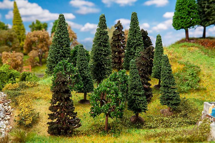 Arbres décoratifs miniatures : 15 Arbres de forêt mixte, assortis - 1:87 HO, 1:120 TT - Faller 181529 - diorama.fr