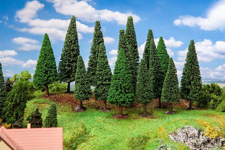Végétations miniatures : 15 grands sapins - 1:87 HO, 1:120 TT - Faller 181542 - diorama.fr