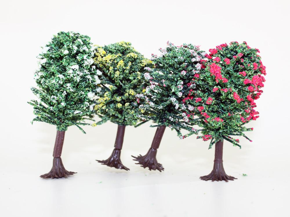 4 arbres fleuris miniatures 6 cm, 1:160 N - Jordan 7E