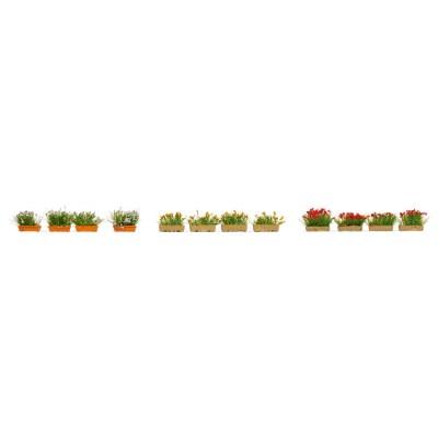 Jardinières fleuries, rouges, blanches et jaunes - Noch 14009