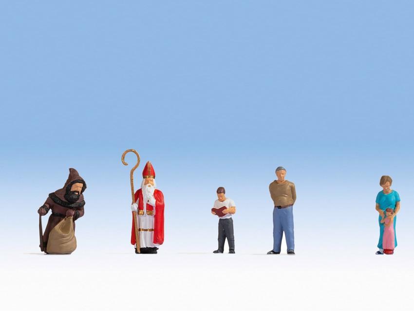 Personnages miniatures : Jour de la Saint Nicolas - 1:87 HO - Noch 15923 - diorama.fr
