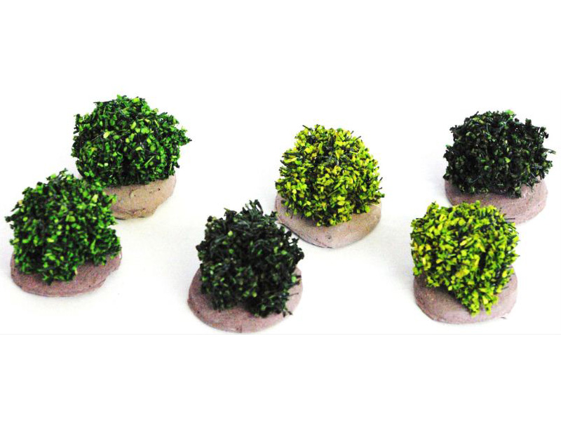 6 buissons verts miniatures