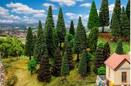 Arbres décoratifs miniatures : 30 Arbres de forêt mixte, assortis - 1:87 HO, 1:120 TT - Faller 181530 - diorama.fr