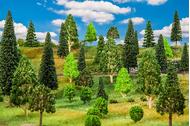 Végétations miniatures : 25 Arbres de forêt mixte, assortis - 1:87 HO, 1:120 TT - Faller 181535