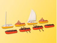 Embarcations miniatures : Ensemble de 8 bateaux - 1:87 H0 - Kibri 39159