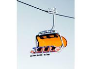 Télésiège oméga orange et bleu pour téléphérique miniature
