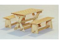 Décors miniatures : Table et bancs de jardin - 1:35 - Plus Model 414