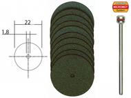 10 disques à tronçonner en corindon ø 22 mm avec support - PROXXON 28810