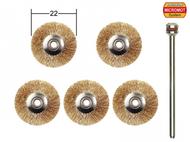5 brosses en laiton en forme de disque ø 22,0 mm - PROXXON 28962