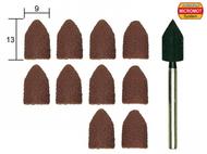 10 capuchons abrasifs en corindon ø 9,0 mm avec support - PROXXON - 28987
