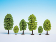 10 arbres miniatures 5-9 cm 1:87, 1:120 - Noch 26901