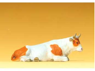 Vache miniature couchée, échelle 1:25