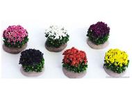 6 buissons fleuris MINIATURES pour crèches, dioramas, décors de paysages divers