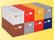 Décors miniatures : 8 conteneurs (capacité 20 pieds) - 1:87 - Kibri