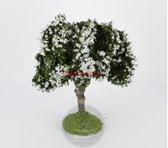 Arbre fleuri blanc 15 cm - décors pour crêches