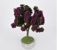 Arbre fleuri parme 15 cm - décors pour crèches