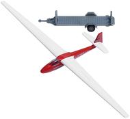 Avion miniature : Planeur rouge avec remorque - 1:87 HO - Busch 1154