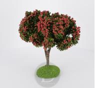 Arbre fleuri rouge 11 cm - décors pour crèches - FR-C97591_rou