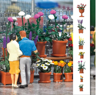 Busch 1209 - Assortiment 20 pots de  fleurs : tulipes, roses, marguerites, dalhia, lupins 1:87 - HO