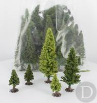 JORD-50F - 50 sapins miniatures 4/12 cm 1:87