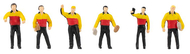 6 figurines : 6 Livreurs de colis - 1:87 H0 - Faller 151611