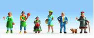 Figurines miniatures : Promeneurs au Marché 1:87 - Noch 15470