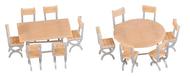 2 Tables et 12 chaises miniatures ‐ Époque III : 1946/1977 - 1:87 HO - Faller 180957