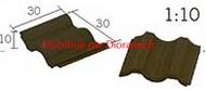 25 Tuiles imbriquées noires céramique - 30 x 30 x 10 mm - Aedes 2121100 Tuiles imbriquées marron céramique 1:10 - Aedes 21211