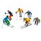 Miniatures de 6 figurines debout à ski - 1:32 - 5694