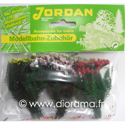 JORD-9c - 3 Bosquets fleuris miniatures 1:87