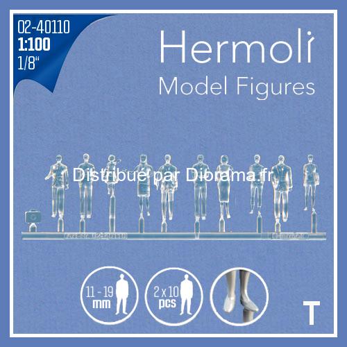 20 Personnages européens 3D 1:100 - Miniature pour décors d'architecture