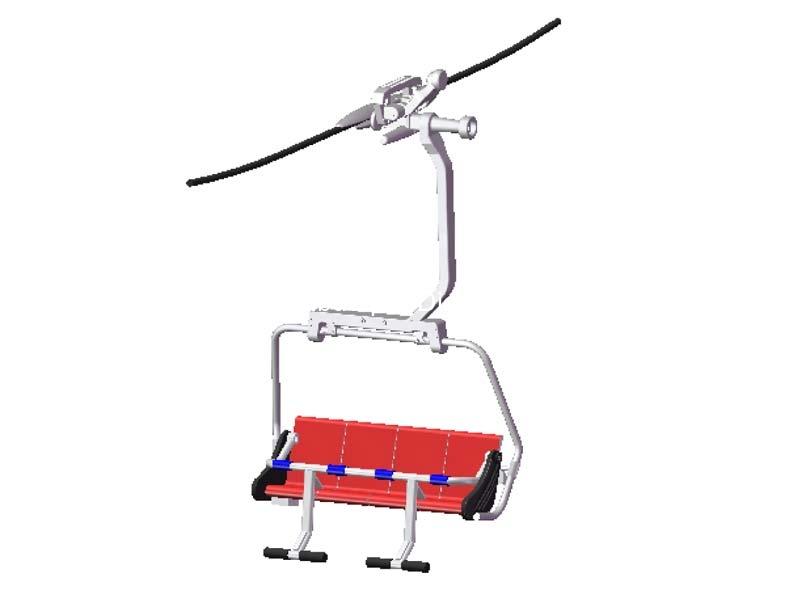 Télésiège rouge pour téléphérique miniature - 1/32 - JC 87050