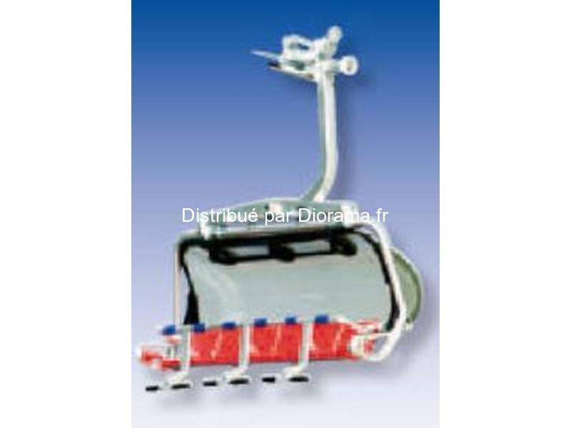 Télésiège oméga rouge et bleu pour téléphérique miniature
