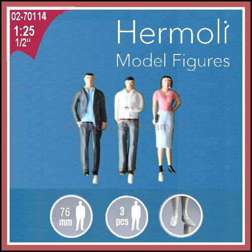 3 Personnages européens 3D 1:25 - Miniature pour décors d'architecture