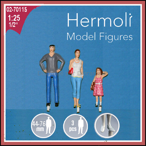 3 Personnages 'famille' 3D, 76 mm, 1:25