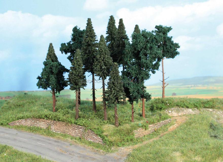 Végétation miniature - Forêt de conifères 14 arbres divers 10 - 17 cm - Heki 2264