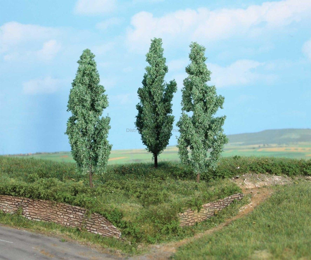 Végétation miniature - 3 peupliers blancs 13 cm - Heki 01782