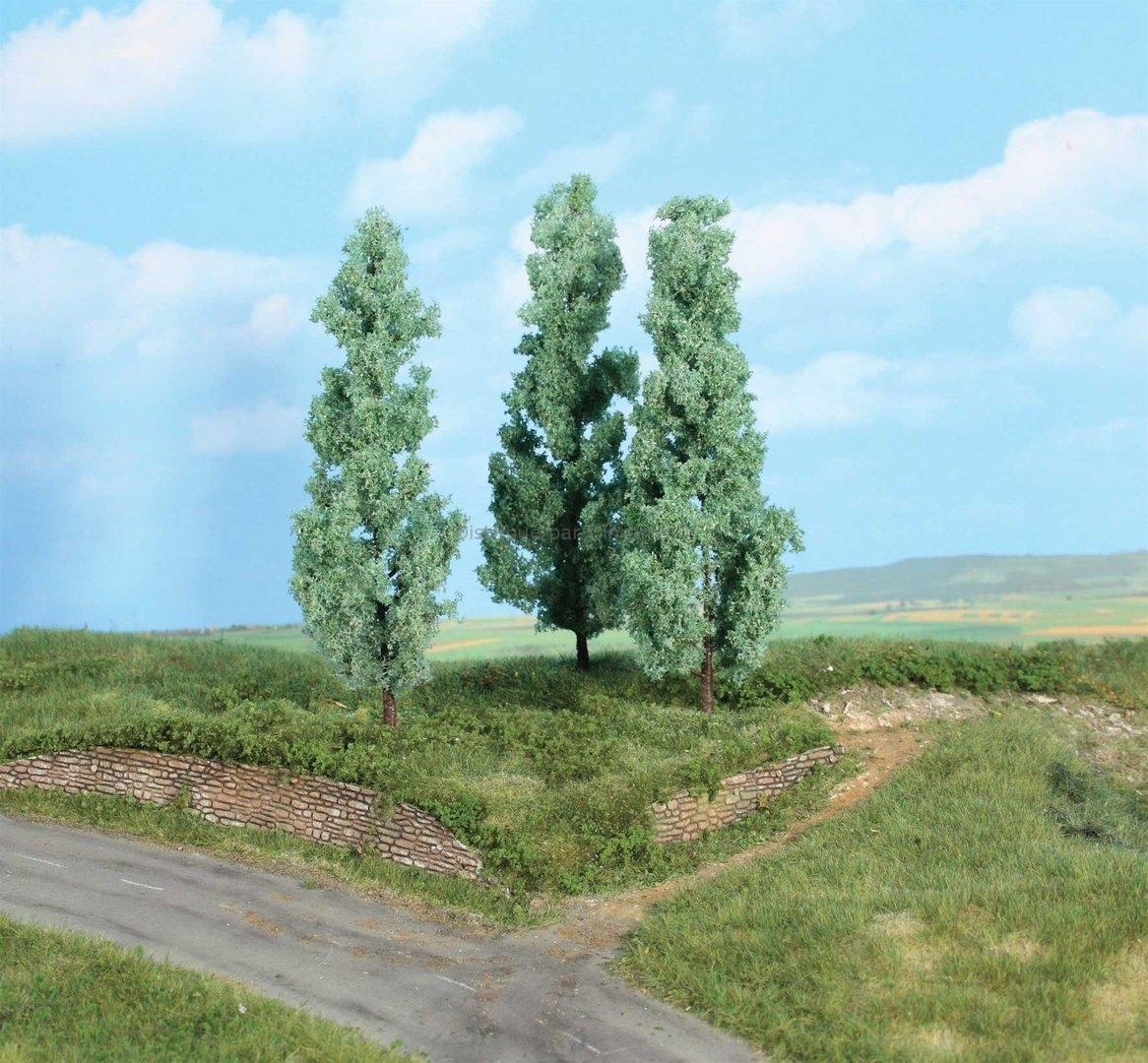 Végétation miniature -Heki 1783 - 3 peupliers argentés 18 cm
