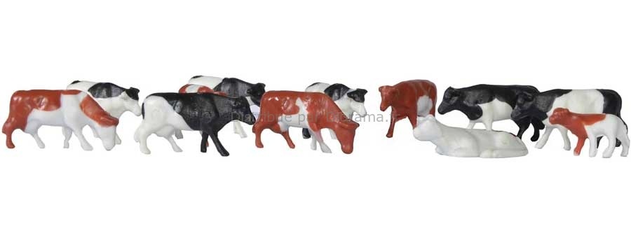 Animaux miniatures : 12 vaches - HO 1:87 - Kibri 38152