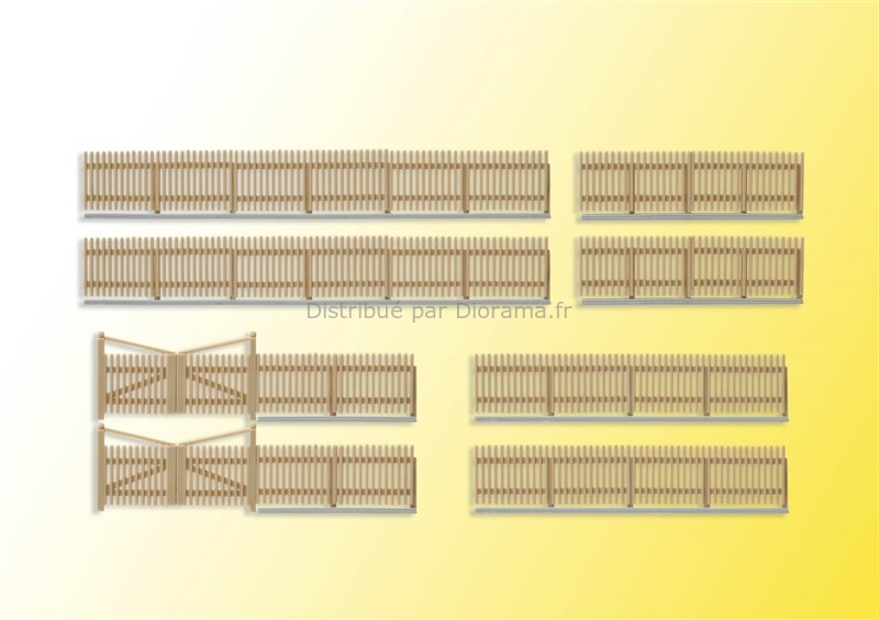 Décors miniatures : Palissade en bois 84 cm - HO 1:87 - Kibri 38625