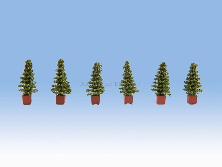 Arbustes miniatures : 6 thuyas - 1/87 HO - Noch 14021