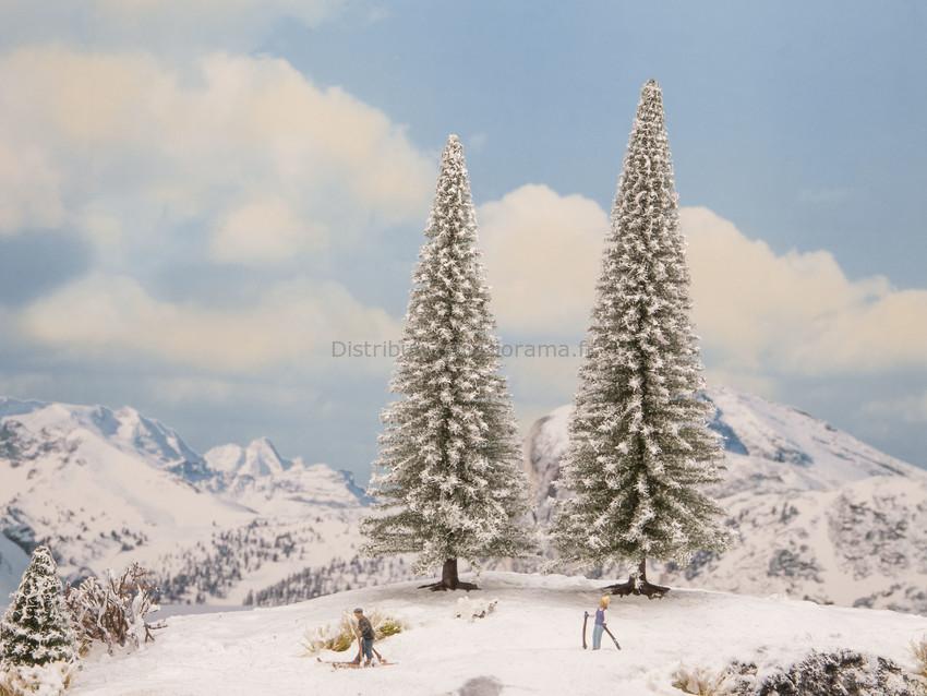 Végétation miniature : 2 Sapins enneigés 18 - 20 cm - 1:87, 1:120, 1:160 - Noch 21966