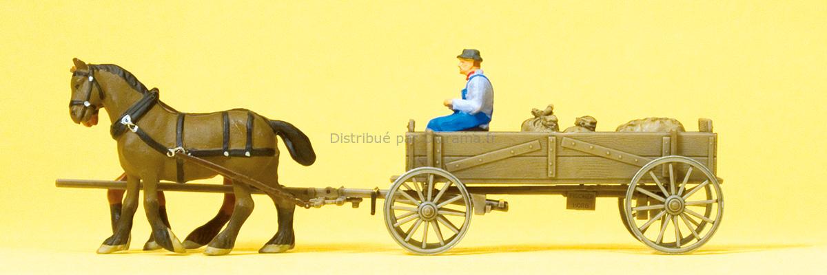 Figurines miniature : Charrette et deux chevaux - 1:87 HO - Preiser 30411