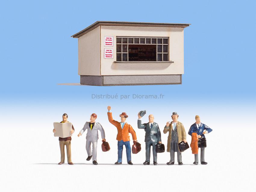 Personnages miniatures : Sur le quai avec 6 personnages - 1:160 N - Noch 12720