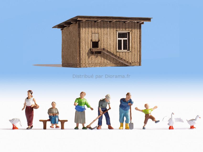 Personnages miniatures : À la ferme avec 6 personnages - 1:160 N - Noch 12740