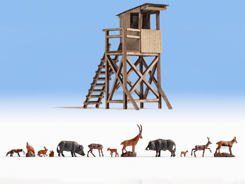 Figurines miniatures : Dans la forêt avec 12 animaux - 1:160 N - Noch 12745